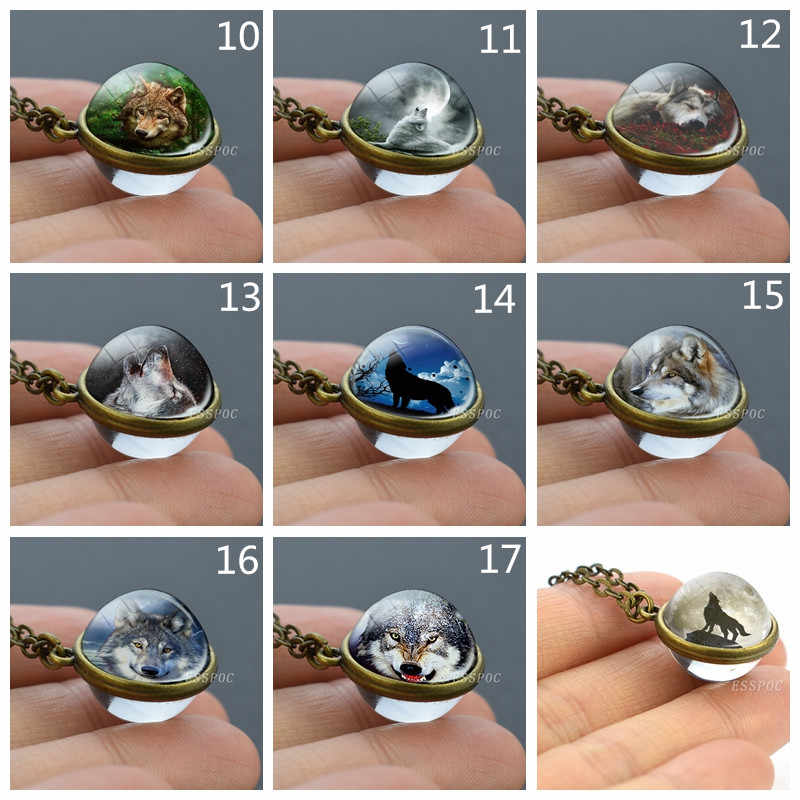 Double-side Wolf Necklace  Fine Wolf Glass Cabochon Pendant Unisex Animal Necklace Wolf Howling Accessories Animal Jewelry