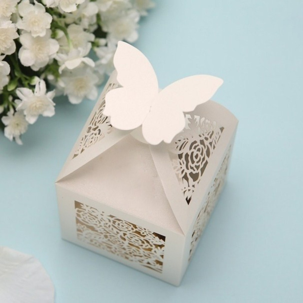 Gift Boxes For Weddings: KAZIPA 50pcs White Rose Cut Butterfly Pearlescent Paper