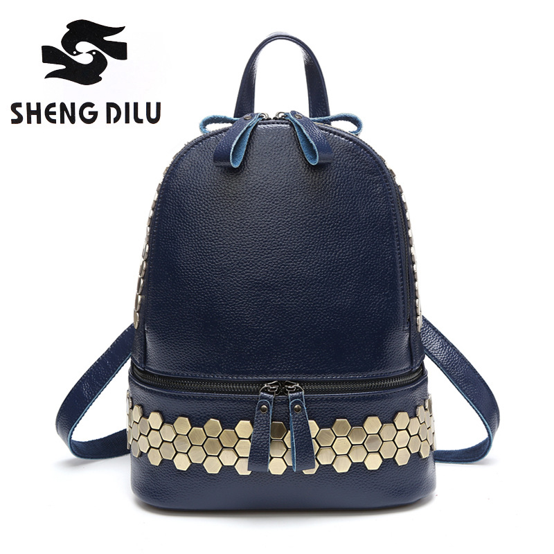 New Arrival Europe Genuine leather Women Backpack Preppy Fashion Rivet School Bags 4 Colors Bag Backpacks for women High Quality high quality women leather backpacks vintage backpack women school bags 2015 new arrival bags design wholesale backpacks bb28