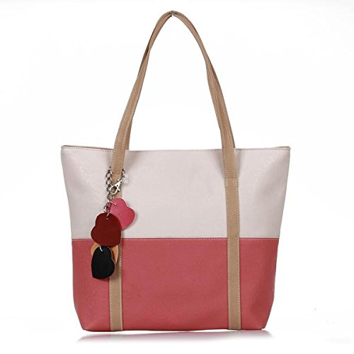 Women PU Leather Hand Bag Handbag Shoulder Tote Beige Watermelon Red