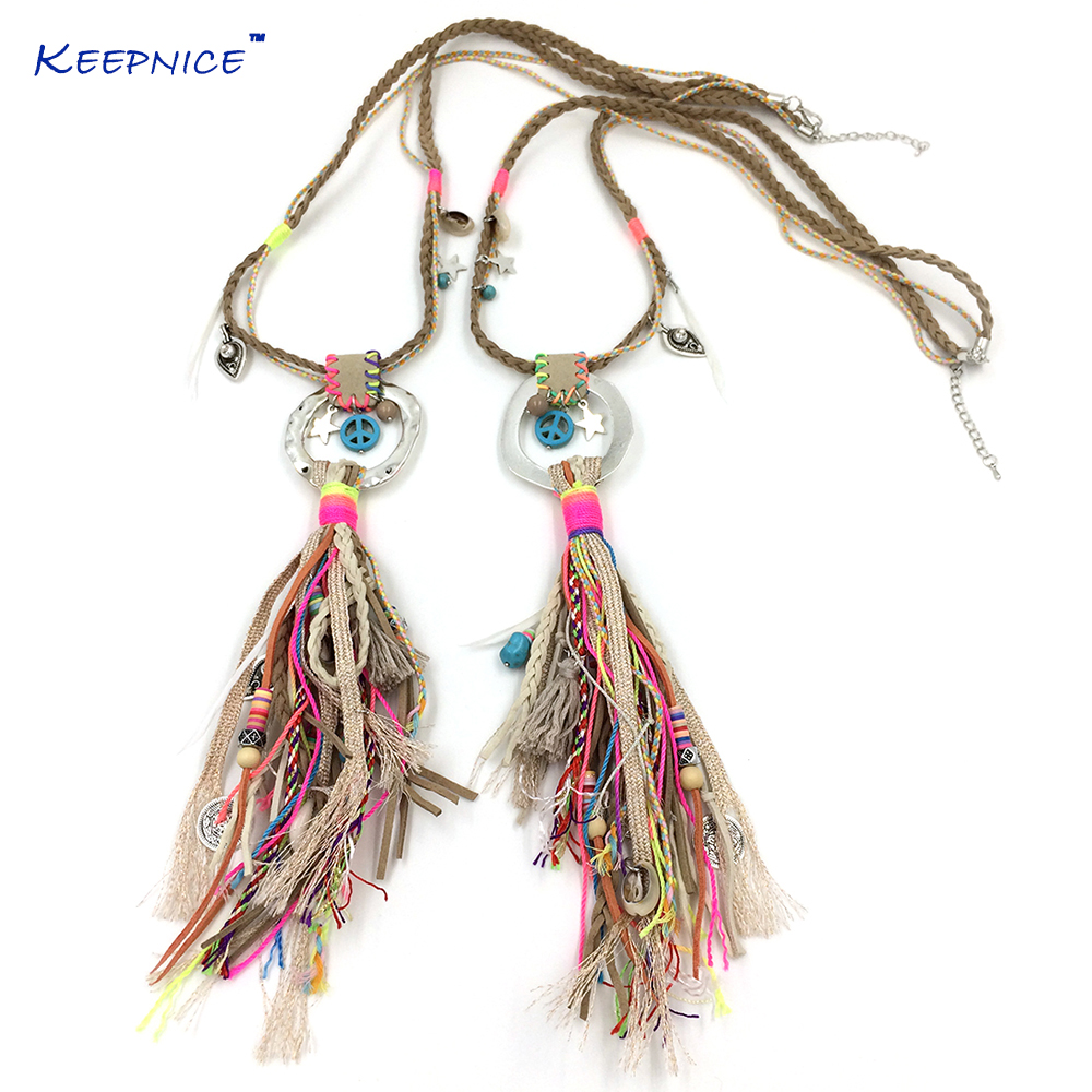New Handmade Bohemia Jewelry Leather Tassel Pendents Unique Boho Long Necklaces Leather Woven Chain Necklace