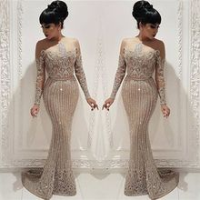 Fabulous New Evening Dress 2019 O-Neck Long Sleeves Floor Length Mermaid Beading Tulle Formal Prom Gowns Robe de soriee