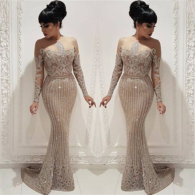 Fabulous New   Evening     Dress   2019 O-Neck Long Sleeves Floor Length Mermaid Beading Tulle Formal   Dress   Prom Gowns Robe de soriee