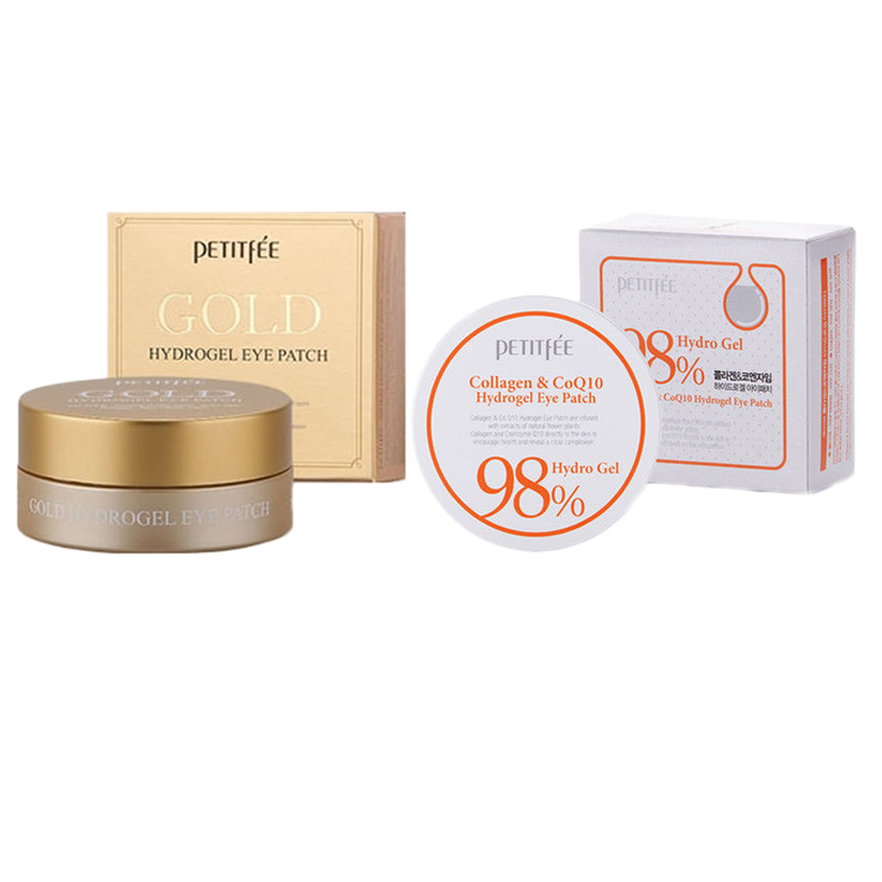 PETITFEE Collagen & CoQ10 Hydrogel Eye Patch + Gold 60pcs Face Care Mask Firming Bags Masks