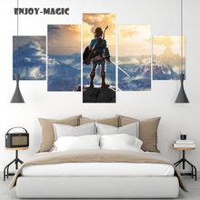Home Decor Breath of The Wild Wall Art Canva No Frame Poster Modern 5 Pieces Oil Painting Animal Picture 5 Panel HD Print  A-011