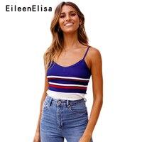 Eileen Elisa Runway Tank Sleeveless Women Casual Stripes Tank Top V neck 2018 Summer New Tops