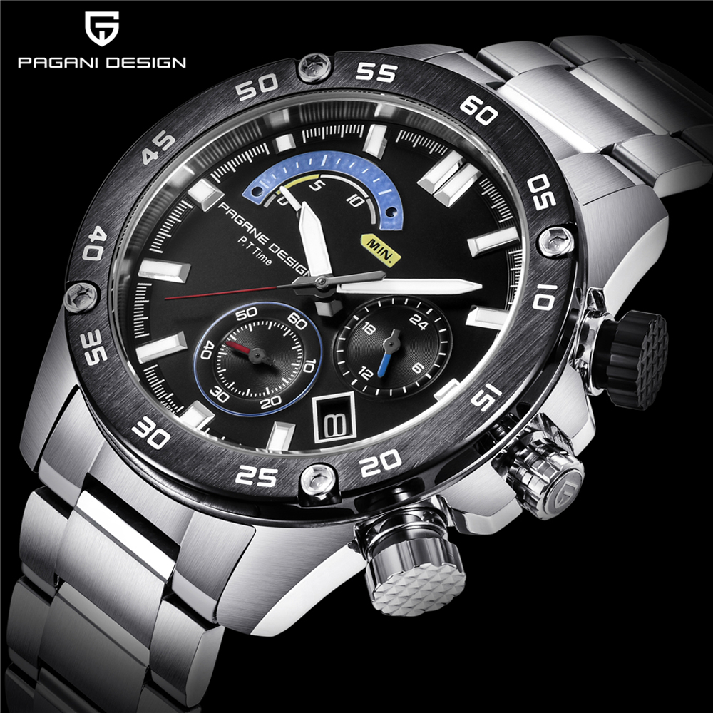 PAGANI DESIGN Luxury Brand New Business Stainless Steel Quartz Watch 30M Waterproof Sports Chronograph Mens Watches dropshipping new design fashion mens stainless steel band square business quartz analog wrist watches 5v8u 3y3fd