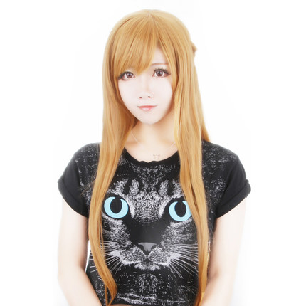 OHCOS Anime Sword Art Online Character Yuuki Asuna Long Straight Yellow Blue Hair Cosplay Wig +Free Hairnet