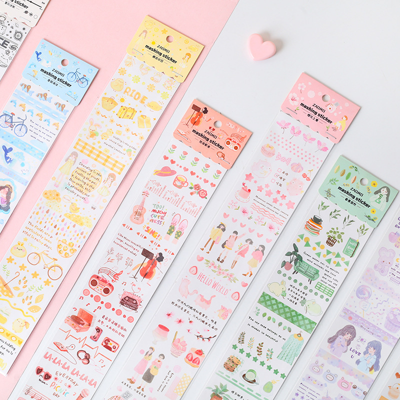 Cherry Blossom Summer Series Washi Masking Tape Stickers Scrapbooking Stationery Decorative Long Strip Of Tape
