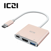 ICZI 3 in 1 Multifunction Type C USB C Hub USB 3.1 Adapter with 4K HDMI USB 3.0 Type C Port for 2016&2017 MacBook Type c Hubs