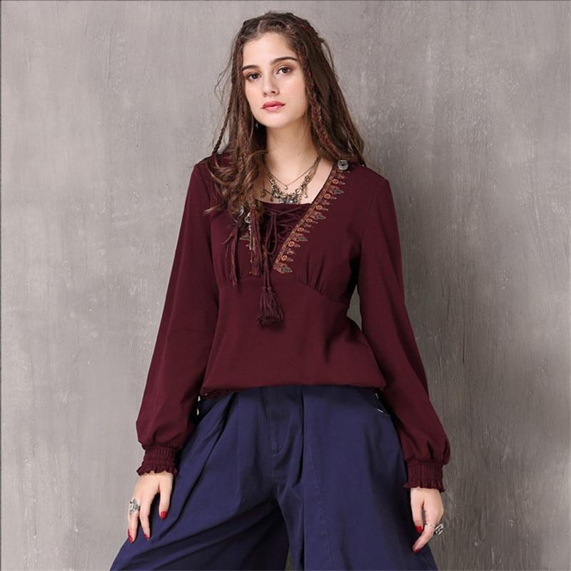 Vintage Spring Cotton Women   Blouse     Shirt   2018 Long Sleeve Vintage Embroidery Loose Tassel   Shirt     Blouse   Square Collar Top