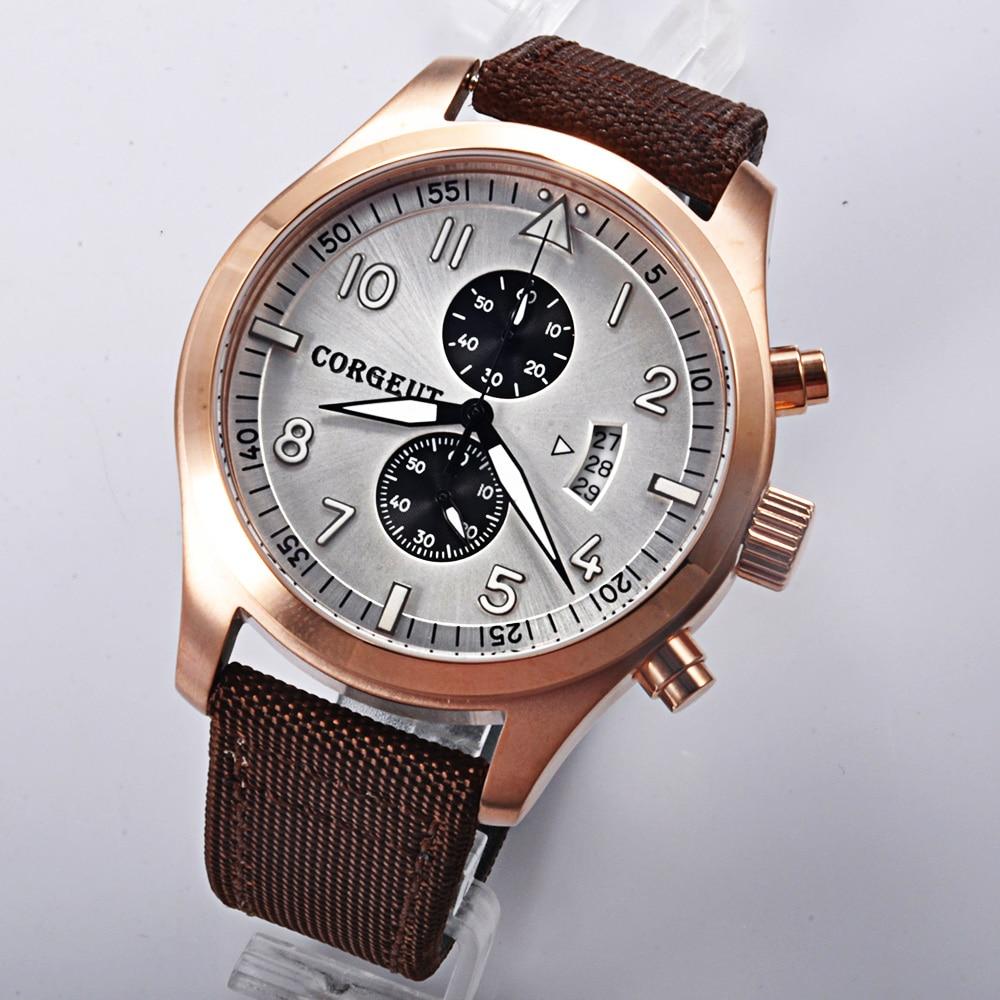 Corgeut 46mm white dial rosegold PVD Case Full Chronograph men quartz wrist watch 46mm corgeut gray dial pvd case tripe day quartz chronograph mens watch c30