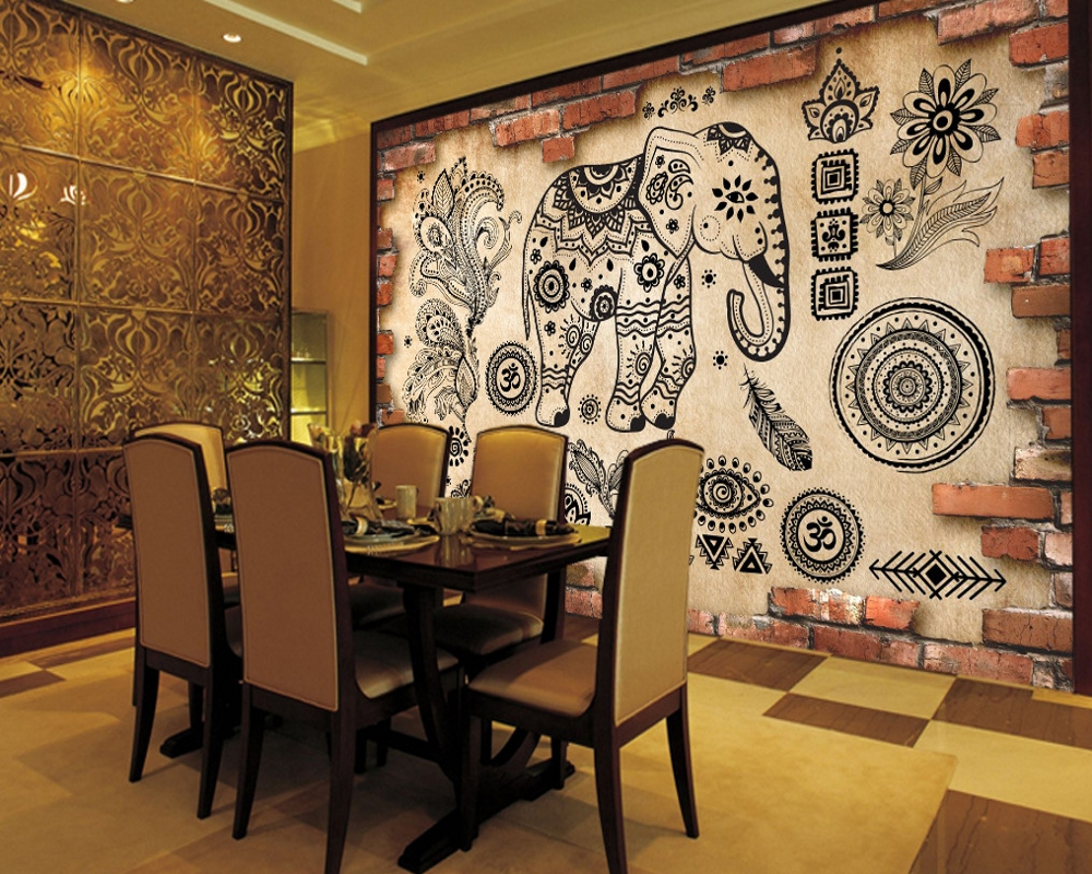 Free Shipping 3D Wall Tiles Abstract Pattern Elephant Mural Restaurant Decor Wallpaper Custom Thai Style Living Room Wallpaper free shipping watercolor art living room lobby mural fashion salon shop clothing store restaurant lounge bar wallpaper