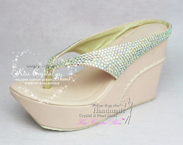 a253ffb36d57 Crystal Wedge Flip Flops High Heel Crystal Wedding Flip Flops 4 inch Heel  Wedge Slippers Dress Wedge Pumps for party evenging
