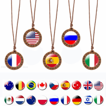 National Flag Necklace Vintage Art Wooden USA NL Russia Spain Flag Pendant Glass Cabochon Jewelry Wood Wax Rope Chain Gift flavor pendant azard patriot russia flag vanilla ar1pk006