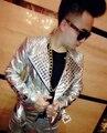 2014 nuevo estilo moda plata PU de cuero para hombre dj trajes de la etapa cantante rhinestone hombres delgados ds lead dancer chaqueta de caballero