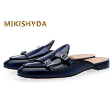 MIKISHYDA Men Navy Blue Buckle Shoes Slip-on Mules Hand-polished Loafers for EU39-EU46 Customized Color Casual