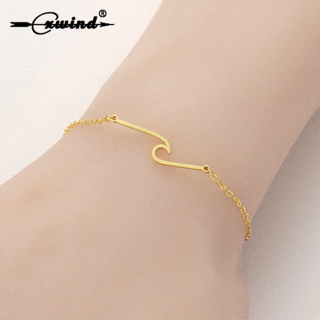 Cxwind Gold Charms Wave Bracelet for Women Simple Stainless Steel Surf Bracelet Ocean Wire Bangles Bohemian Jewelry