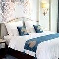 Шикарная четырехсезонная голова лошади  синяя кровать с флагом  Европейский роскошный стиль  кровать для свадьбы  вечеринки  дома  постельн...