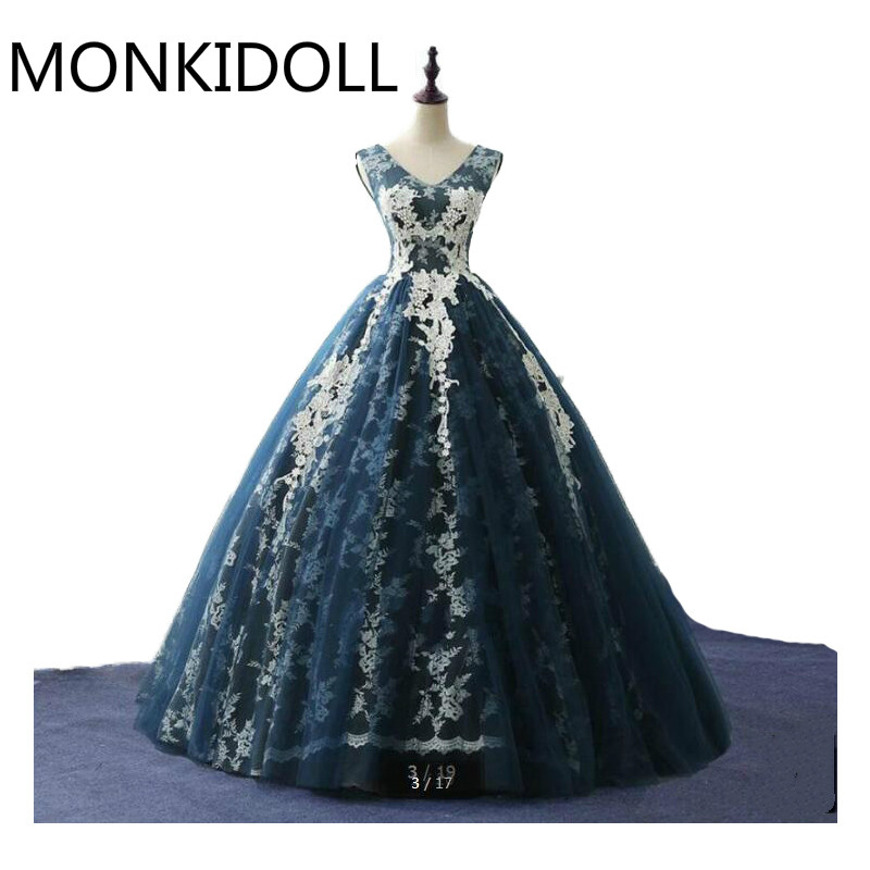 Robe De Soiree navy blue lace ball gown real picture   prom     dress   v neck cap sleeve appliques beaded corset   prom     dresses   hot sale
