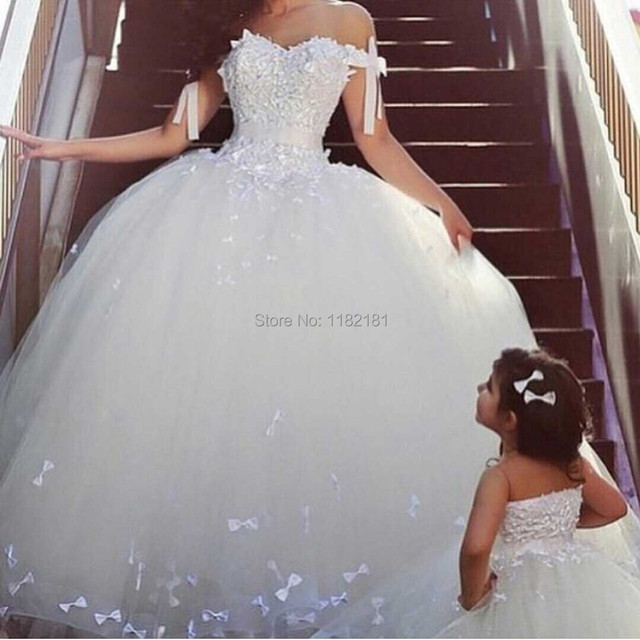 Off the Shoulder White Ball Gown Wedding Dress Princess Style Bridal ...