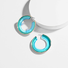 New Design Round Acrylic Hoop Earrings Transparent Clear Lucite Resin Earring Hoops for Women