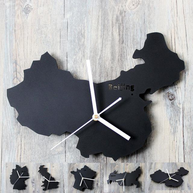 PINJEAS 12inch Fashion World Map Wall Clocks Room Wall Decor Clocks Absolutely Mute Silent Wall Clock Home Decoration Map Clock