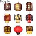 Китайский стиль антикварные деревянные подвесные светильники фонарь овечья шкура лампа подвесной светильник для ресторана освещение для ...
