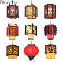 Chinese Style Antique Wood Pendant Lights Sheepskin Lantern Lamp Hanging Luminaire for Restaurant Indoor Lighting Fixtures Decor