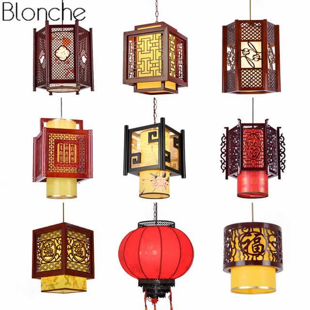 Chinese Style Antique Wood Pendant Lights Sheepskin Lantern Lamp Hanging Luminaire For Restaurant Indoor Lighting Fixtures