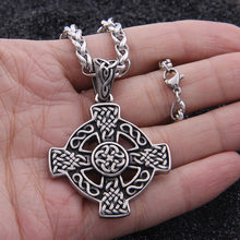 Dropshipping Stainless Steel Viking Cross Liontin Kalung Nordik Celtic Simpul Kalung Pria Hadiah(China)