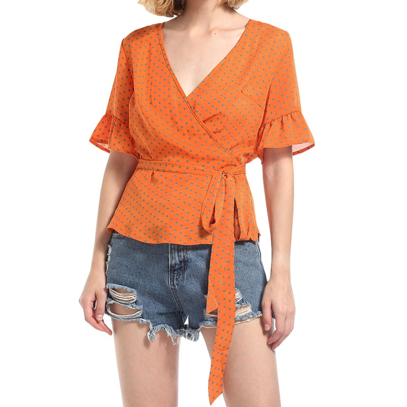 Women Casual Chiffon Blouse Female 2018 Summer Short Sleeve V Neck Orange Polka Dot With Belt Beach Tops Shirt