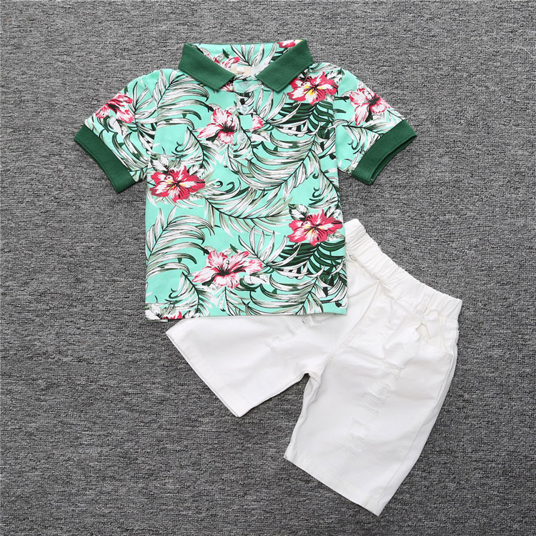 Boys Clothing sets summer children clothing set baby boy clothes Polo t shirt + Jeans Pants shorts outfits For 1 2 3 4 5 6 Years