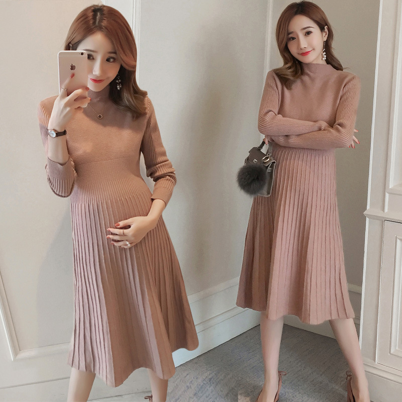 Autumn Winter Pregnant Women Sweater Dress Elastic Slimming Knitted Dress Pregnancy Clothes Long Sleeve Pink Maternity Dress