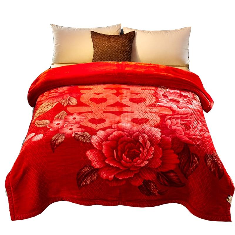Mantas cálidas y suaves de Primavera/invierno con estampado Floral de visón 200*230 CM lbs sofá cama gruesa raschel de mantas-in Mantas from Hogar y Mascotas    1