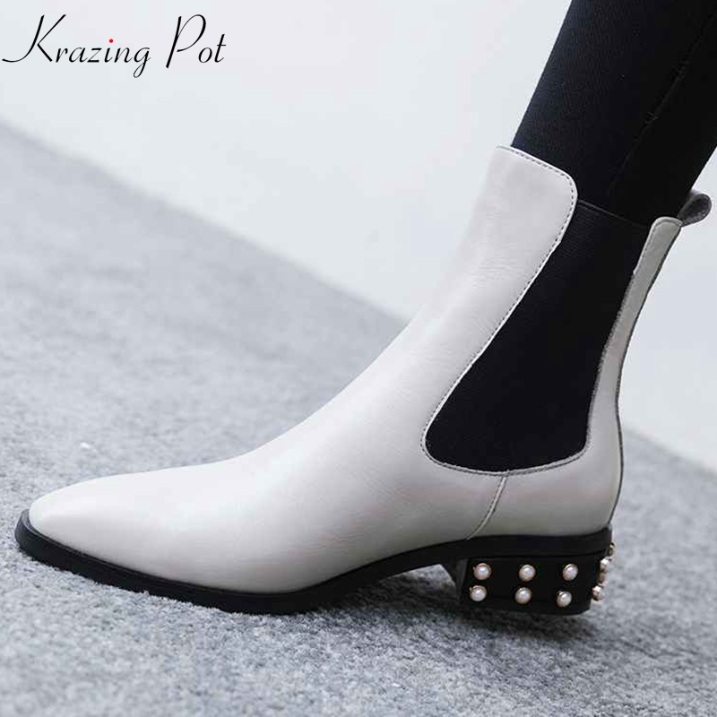 Krazing Potgenuine leather round toe 3cm thick low heels metal fasteners heel motorcycle boots mature women punk ankle boots L22 krazing pot genuine leather 2018 round toe high heels metal fasteners motorcycle boots mature women round buckle ankle boots l26