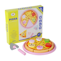 Baby Pizza Wooden Toys Food Cooking Simulation Tableware Children Kitchen Pretend Play Toy Fruit Vegetable with Tableware