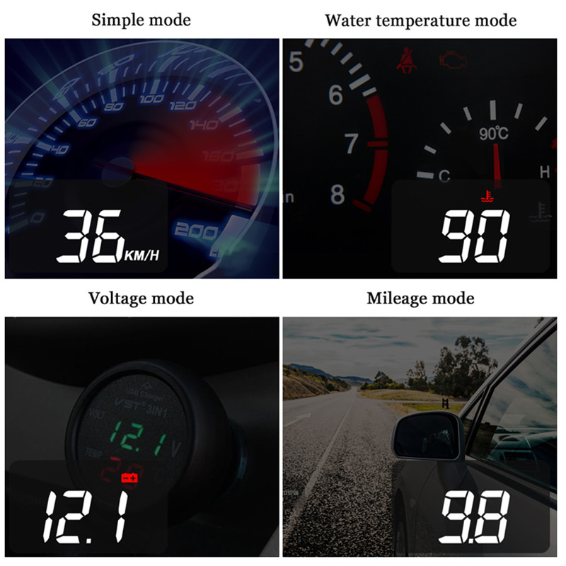 Image 4 - GEYIREN Car hud a100s obd hud display windshield projector temperature hud display car car electronics Overspeed Warning System-in Head-up Display from Automobiles & Motorcycles