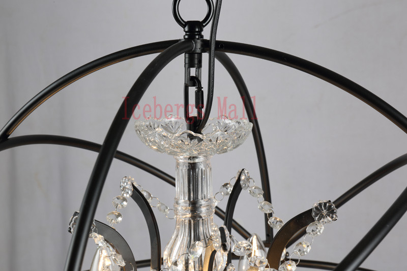 Nordic Iron Chain Cage Crystal Pendant Lights American RH Industrial Lamp Vintage Home Decor Hanging Light For Living Room8