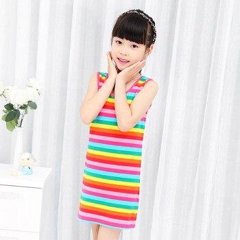 55b29b6fd Ropa para niños niñas vestido de verano de rayas de arco iris sin costura  100% algodón 3-14 AÑOS ...