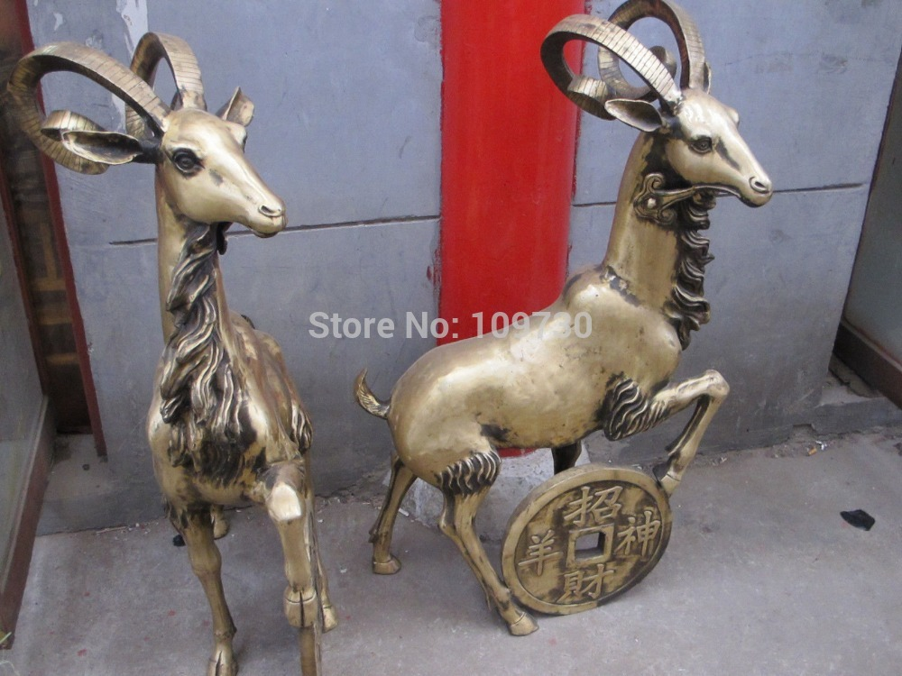 """001809 46 """"China Folk refinado latón cobre Año Zodiacal ovejas de dinero estatua de cabra par"""