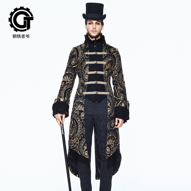 European Royal Gown Retro Men Suits Jacket Embroidery Swallow-Tailed Coat Long Knight Stage Male Prom Party Wedding Costume