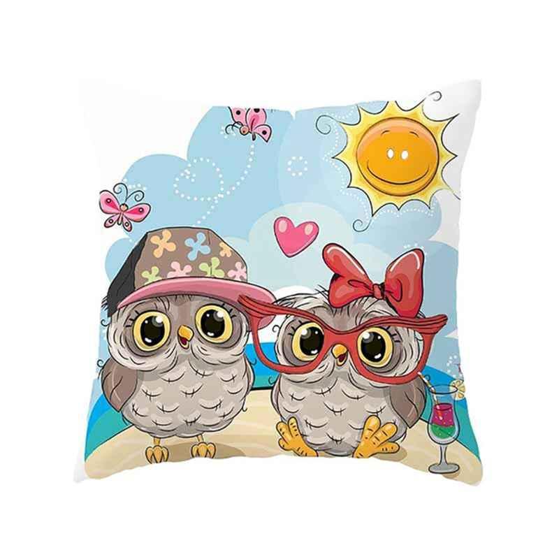 かわいいフクロウ HD 印刷 45*45 センチメートルクッションカバーリネンスロー枕車の家の装飾装飾枕