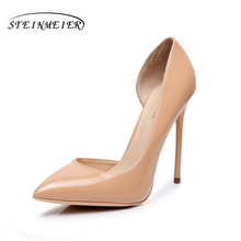 Women high heels patent leather pumps sexy 12cm thin heel single point toe us5 7.5 red party wedding women heels shoes