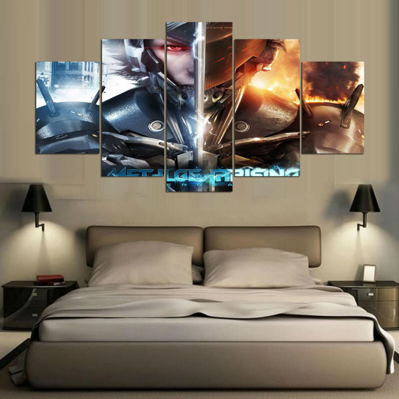5 Panel Canvas Printed Metal Gear Painting For Living Room Picture Wall Art  HD Print Decor