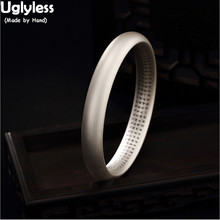 Uglyless Real 99.9% Full Silver Close Bangles 58-62MM Diameter Unisex Frosted Heart Sutra Bangles Bu