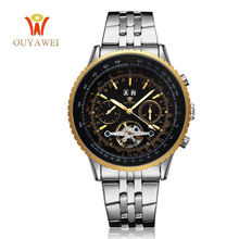 NEWEST OUYAWEI GOLD Mechanical Watch For Men Top Brand Luxury Business Leather Skeleton Reloj Hombre 2019