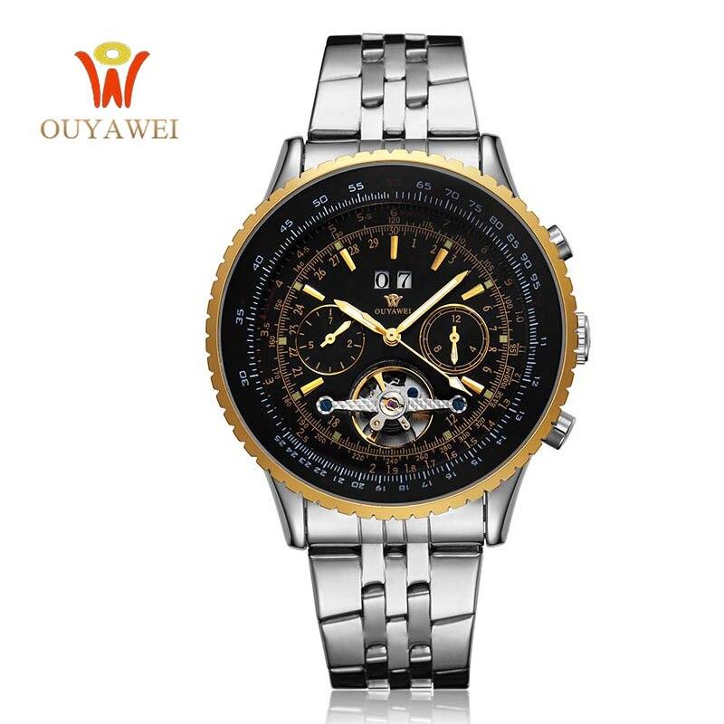NEWEST OUYAWEI GOLD Mechanical Watch For MenTop Brand Luxury Leather Skeleton Men Watch Reloj Hombre цена