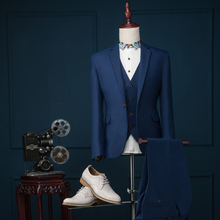 new Fashion Custom Men suits jacket + pants + vest slim men's Blazers groom wedding dress professional dress Black Dark blue