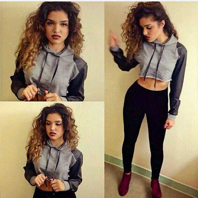 New Fashion Womens Sexy Casual Hooded Sweatshirt Pullover Crop Outerwear Tops Hiot Sale Girls Clothing